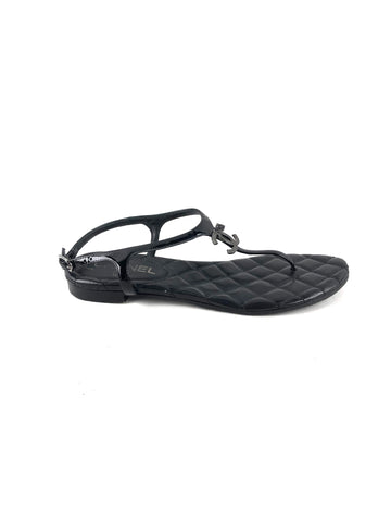 CHANEL Black Leather Quilted Flats Sandals w/ SHW