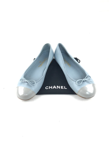 Chanel Baby Blue Ballet Flats w/Patent Leather Cap Toe