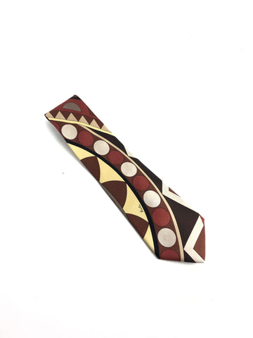 EMILIO PUCCI Brown Geometric Men's Silk Tie