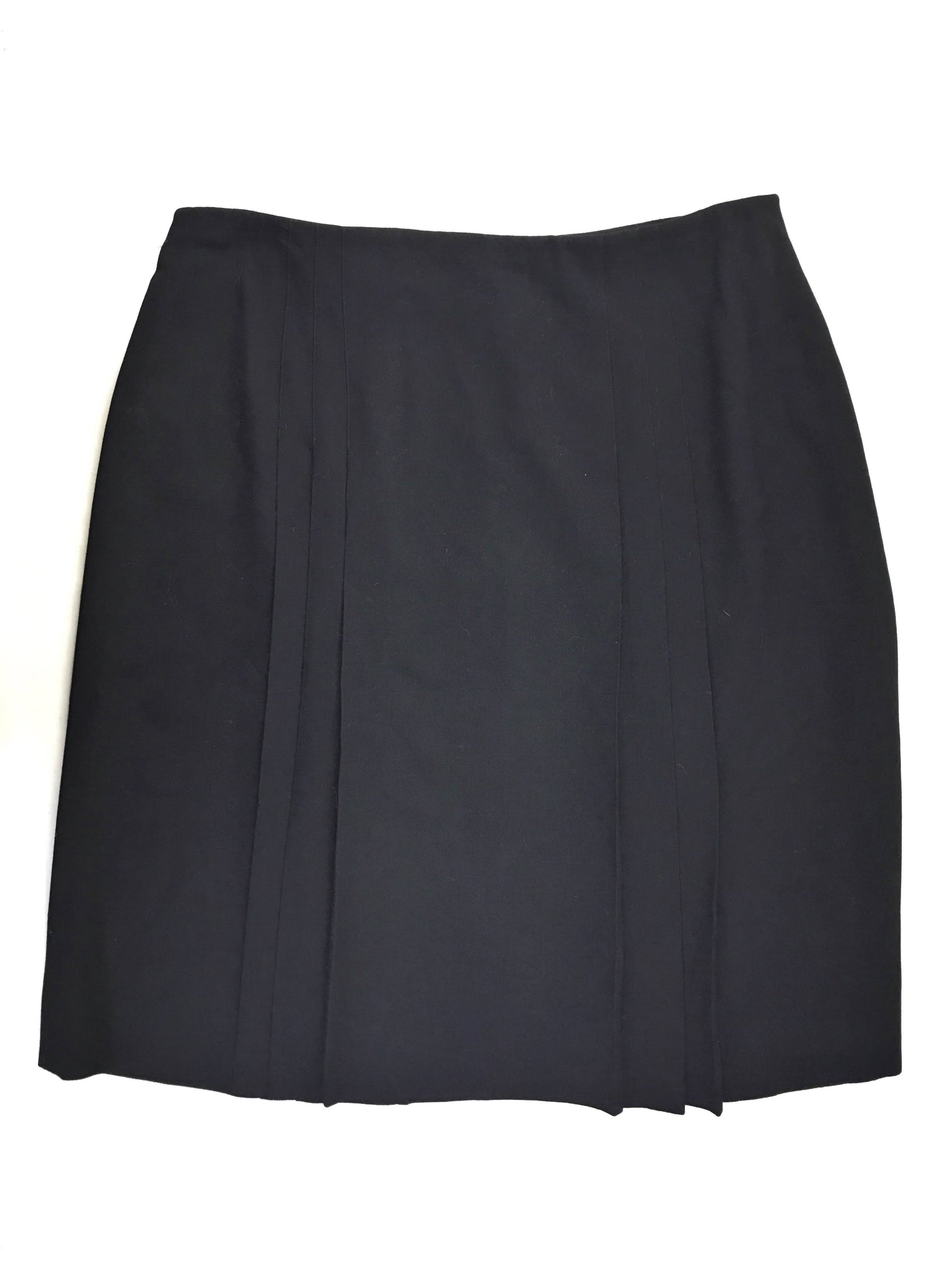 Chanel Black 100% Wool Pleated Skirt