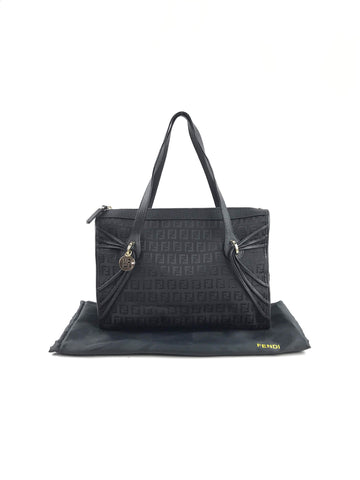 FENDI Black Monogram Canvas Small Tote w/ GHW