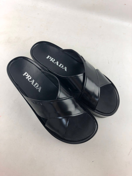 Prada black leather platform sandals