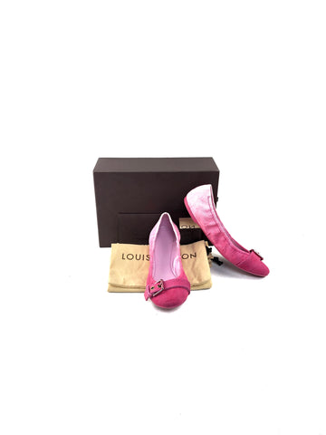 Louis Vuitton Monogram Denim Pink Flats