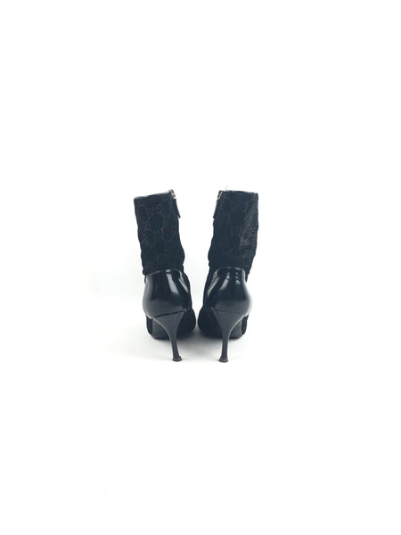 GUCCI GG Supreme Black Suede/Patent Leather Booties
