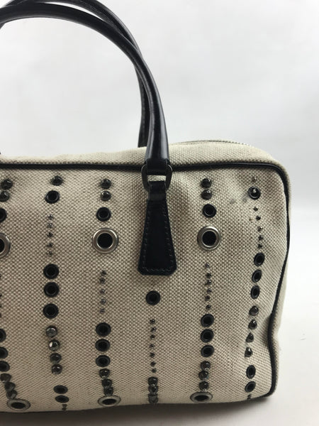PRADA Beige Canvas Studded Hand Bag W/ Dark Black Leather Strap