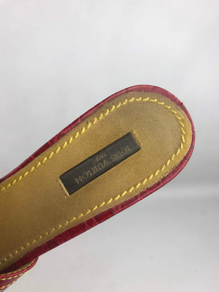 LOUIS VUITTON Demin Monogram/Red Croc Embossed Leather Mules