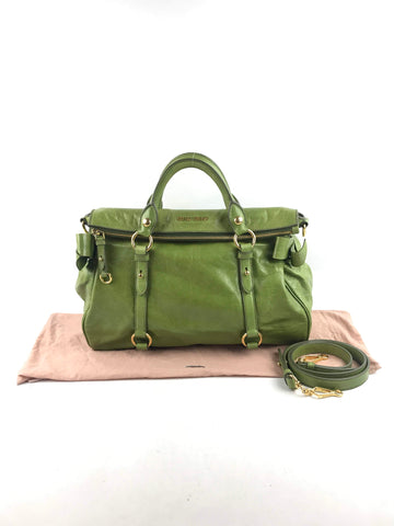 MIU MIU Apple Green Pebbled Leather Bow Top Handle Bag