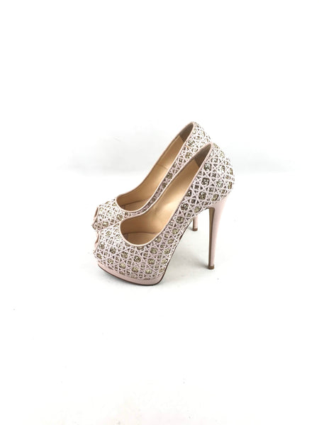 GIUSEPPE ZANNOTI Nude Glitter Quilted Open Toe Platform Pumps