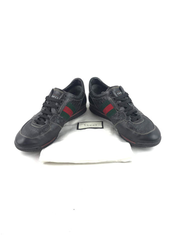 GUCCI Black Leather Monogram Sneakers