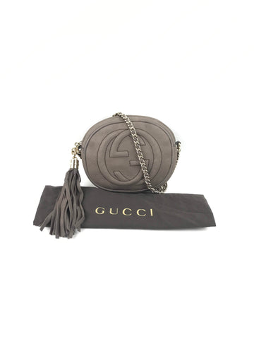 GUCCI Brown Nubuck GG Soho Crossbody Bag W/LGHW