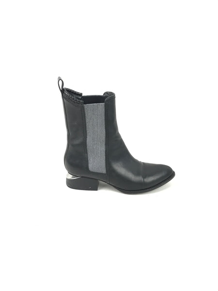 ALEXANDER WANG Black Leather & Fabric Ankle Boots