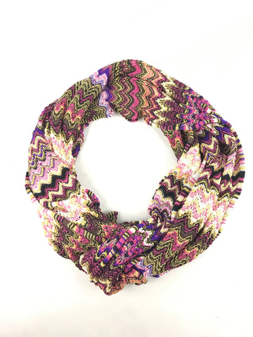 Missoni purple/ magenta, white/ yellow/black/brown woven Viscose and Cotton Scarf