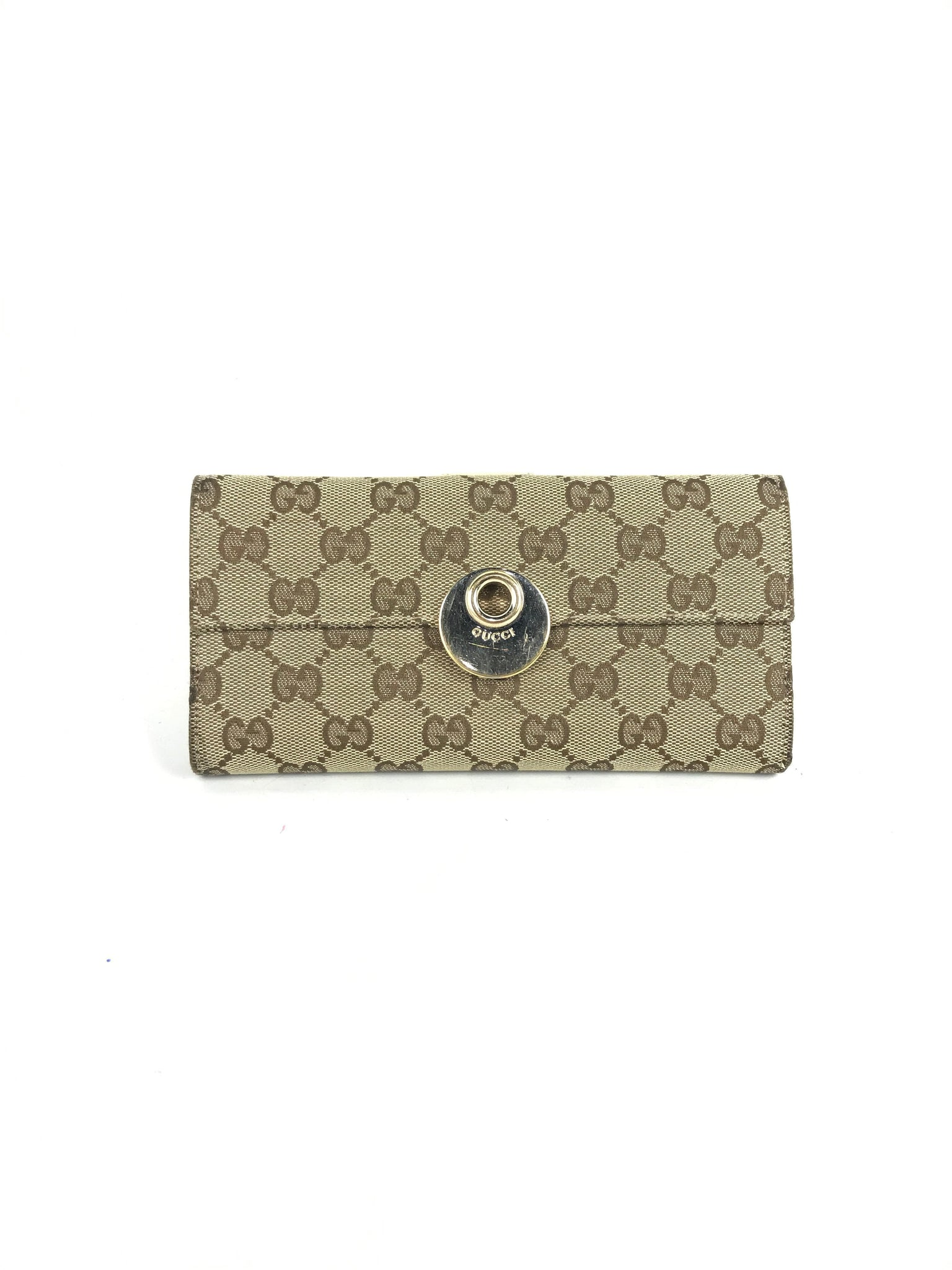 GUCCI Monogram GG Canvas/beige grained leather bifold long wallet