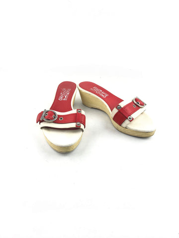 SALVATORE FERRAGAMO cream fabric w/ red accent leather w/SHW open toe wedge sandal
