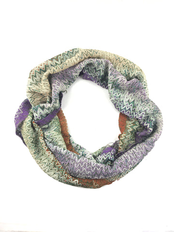 MISSONI purple/green/orange cotton and viscose scarf