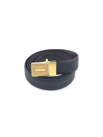 YSL Black/ Brown Reversible Crinkled Leather Belt w/GHW