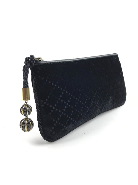 GUCCI Black Velvet Clutch W/ Ball Detail