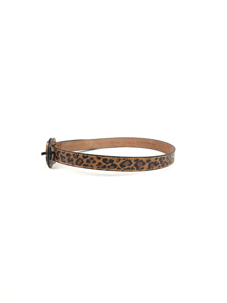 FENDI Leopard Print Coated Leather Belt