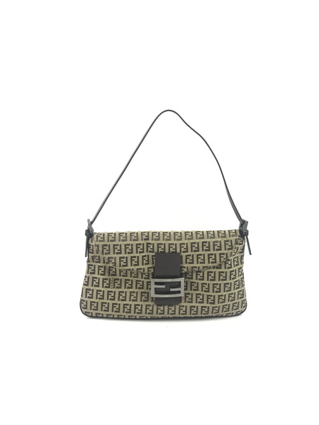 FENDI Monogram Logo Fabric Vintage Flap Shoulder Bag W/ SHW