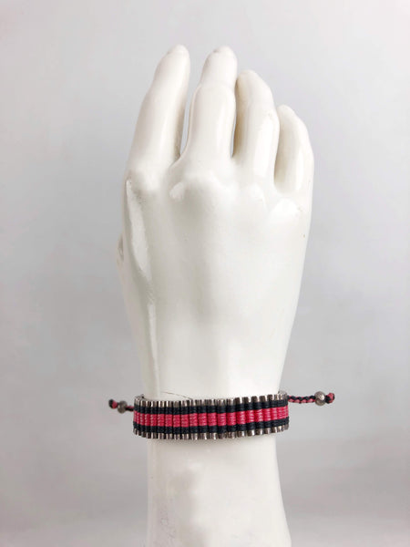 LINKS OF LONDON Sterling Silver Black & Rasberry Thread Friendship Bracelet