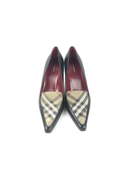 BURBERRY Black Leather & Nova Check Canvas Pointed Toe Pumps