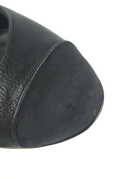 CHANEL Black Goatskin/Grosgrain Cap-Toe Pumps
