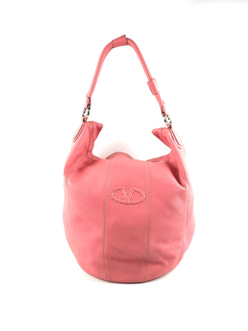 VALENTINO Pink Grained Leather Hobo Bag W/ LGHW
