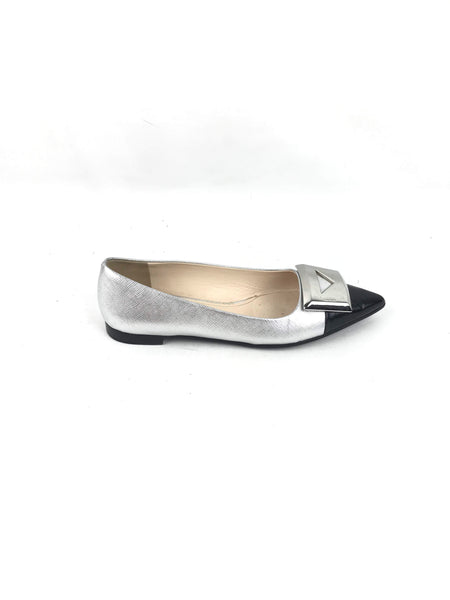 PRADA Metallic Silver/Black Saffiano Leather Buckle Flats