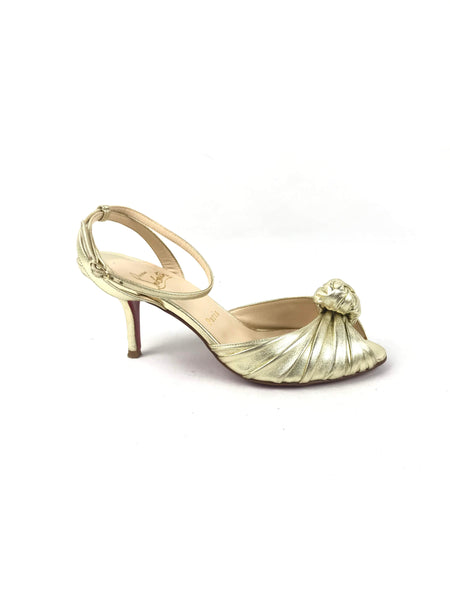 CHRISTIAN LOUBOUTIN Metallic Gold Leather Greissimo Knot Sandals