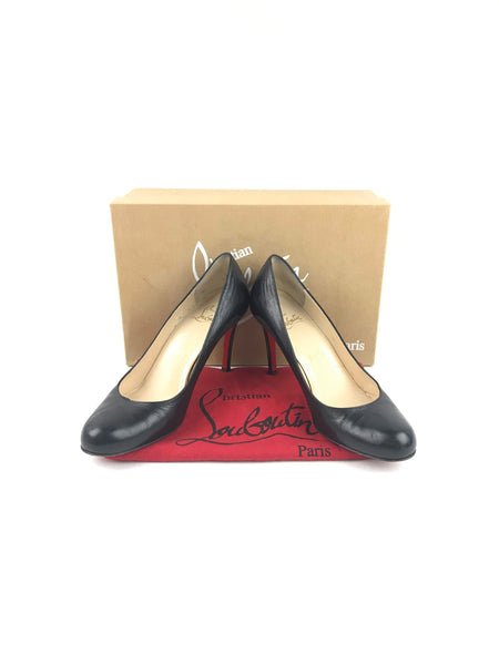 CHRISTIAN LOUBOUTIN Black Leather Simple Pumps
