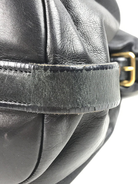 PRADA Black Smooth Leather Hobo Bag