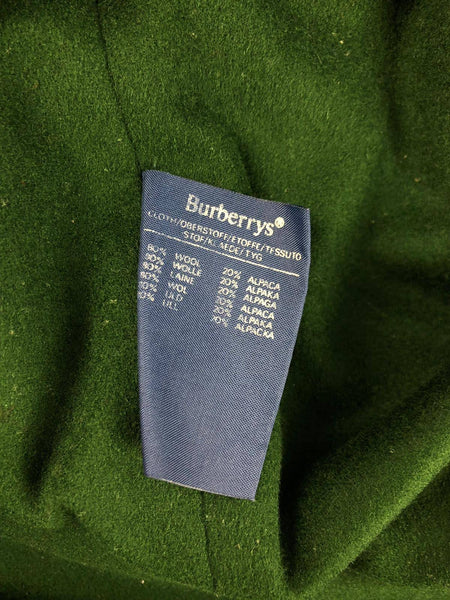 BURBERRY Burberry Navy Blue Vintage Wool/Alpaca Trench Coat w/ Green Interior