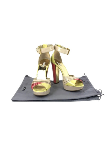 Miu Miu Nude/Pink/ Yellow Patent Leather Open Toe Platform Heeled Sandal w/GHW