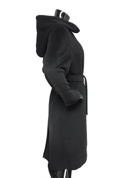 Max Mara Black Wool/Cashmere Blend Hooded Coat w/ Belt
