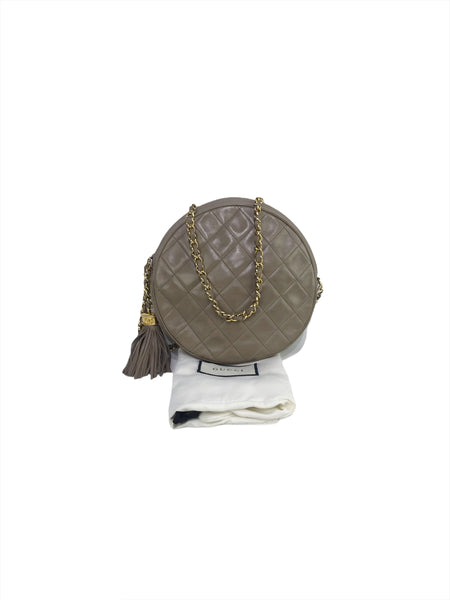 Chanel Vintage Taupe Quilted Lambskin Round Shoulder Bag w/GHW
