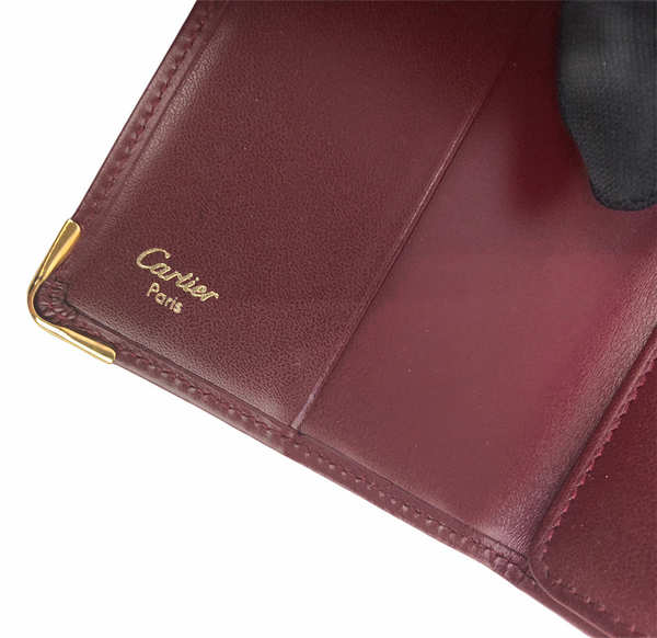 Cartier Red Leather Vintage Bifold Wallet/ Card Case