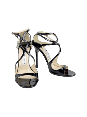 Jimmy Choo Black Patent Cutout Strappy Sandals