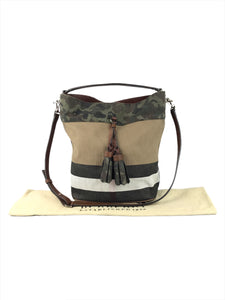 Burberry canvas mega check camouflage medium Susanna hobo Russet Brown