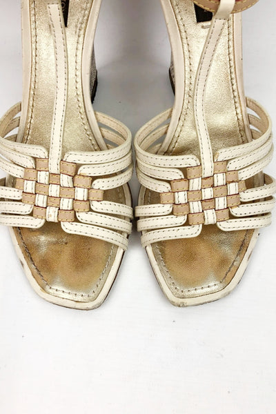 LOUIS VUITTON Damier Azur Monogram Open Toe Wedge Sandals
