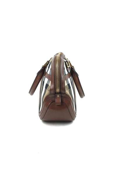 BURBERRY Nova Check Coated Orchard Bowling Tote w/ Crossbody Strap GHW
