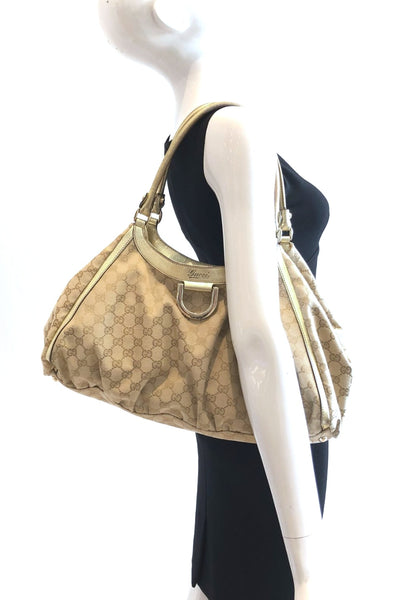 GUCCI Monogram Canvas w/ Gold Trim D-ring Hobo