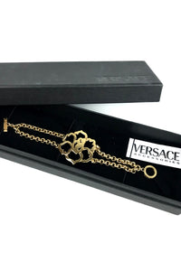 VERSACE Gold Plated Flower Bracelet