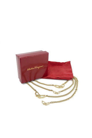 SALVATORE FERRAGAMO Butterfly Gold Plated Chain Belt w/ Crystal Accents