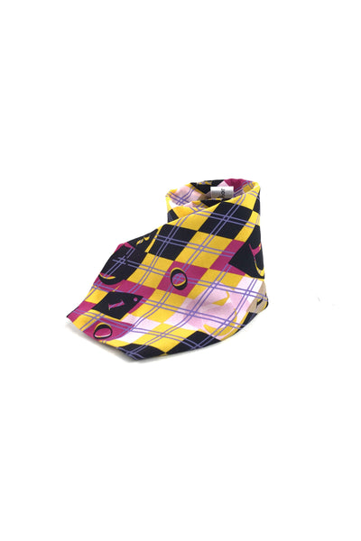 CHRISTIAN DIOR Dior Logo Geometric Pattern Yellow/Pink/Purple/Black Tie