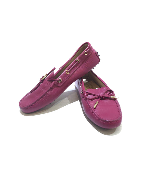 TOD'S Magenta Grained Leather Loafers