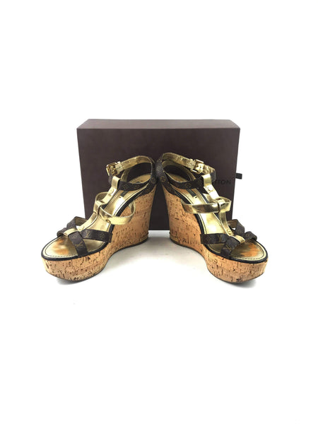 LOUIS VUITTON Monogram Canvas Wedge Sandals