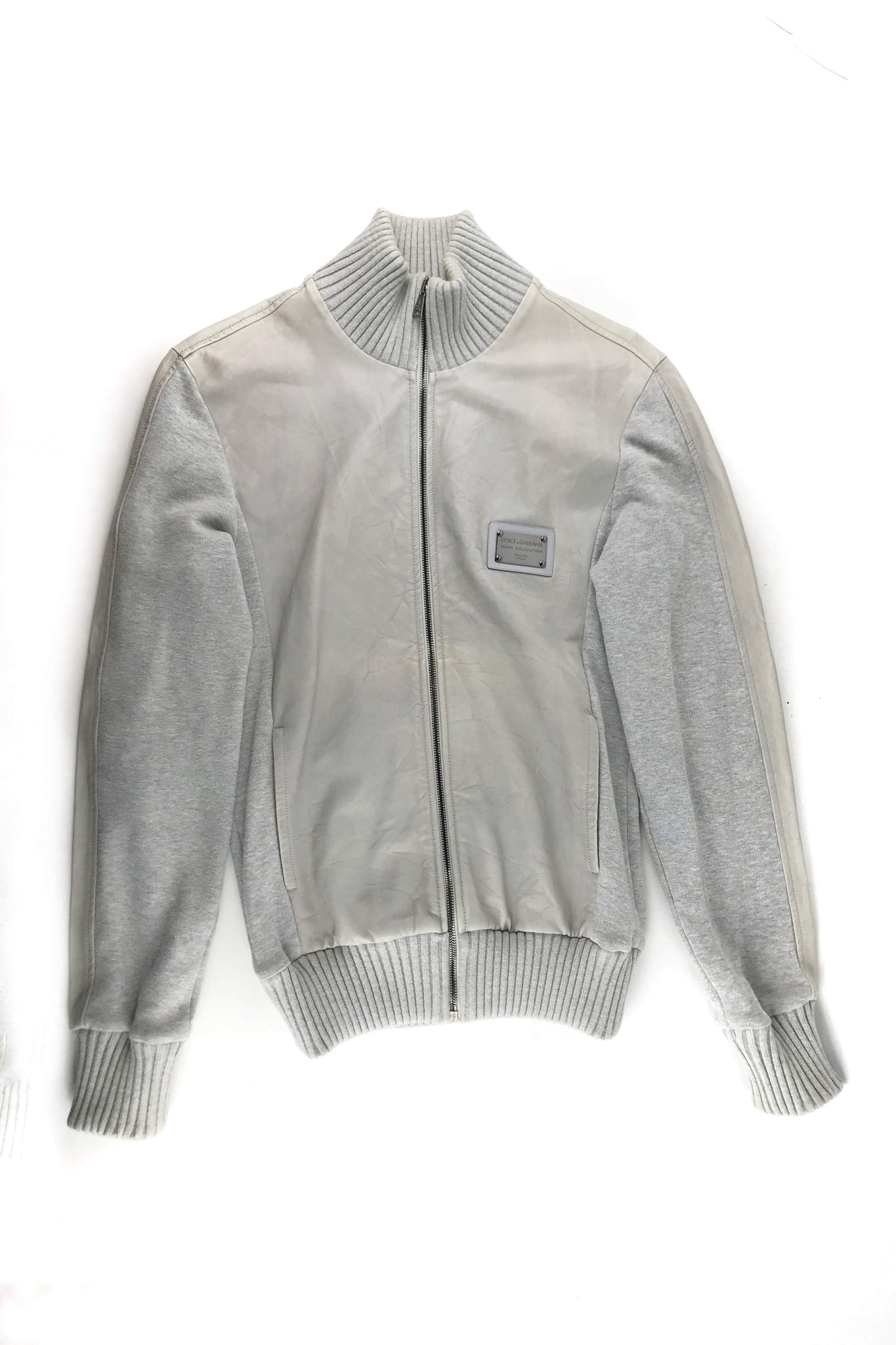 DOLCE & GABBANA Grey Zip Men's Sweater W/Accent Side Panel Leather