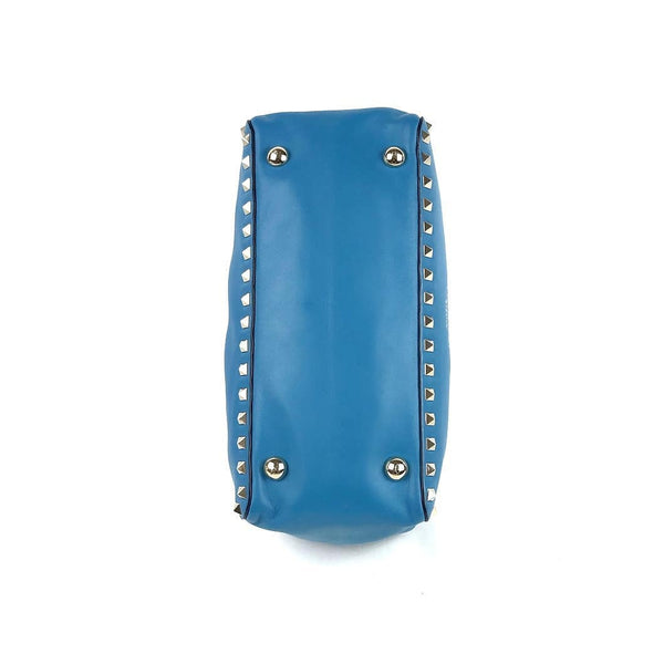VALENTINO Blue Rock Studded Leather Small Rolling Tote LGHW