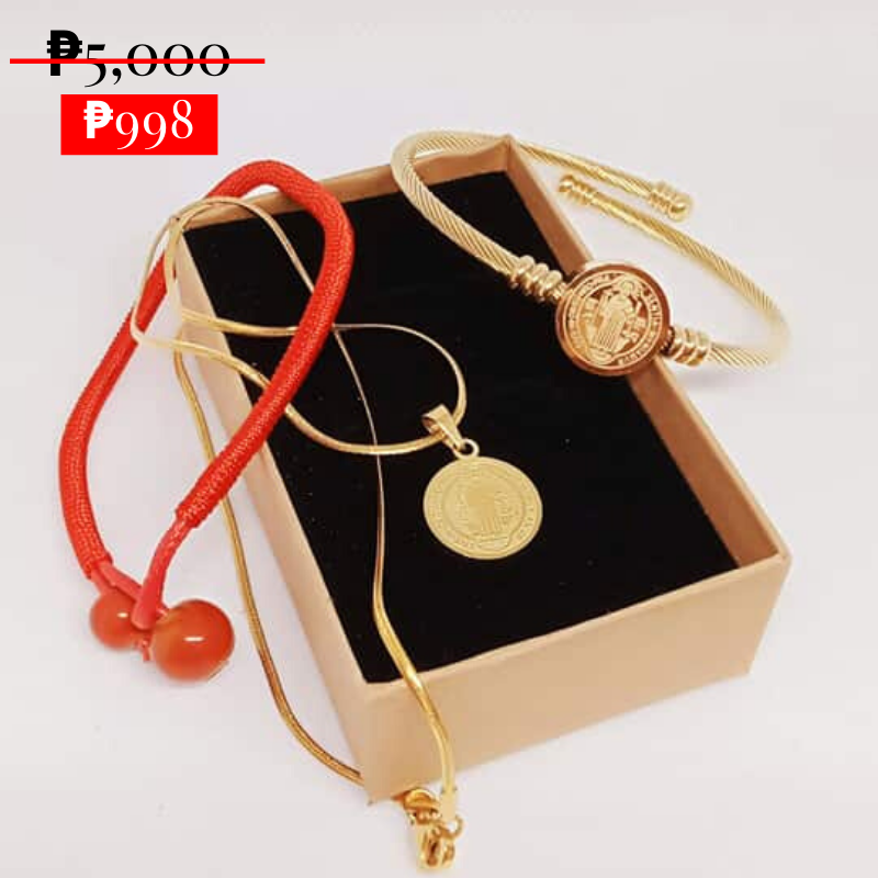 Saint Benedict, ang mapaghimalang medallion necklace with free bracelet
