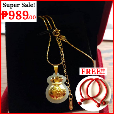 Bangkok Gold 18K Dipped NECKLACE with HETIAN JADE Money Bag charm pendant and 2 pieces RED string (NAGDADALA NG SWERTE!!!)